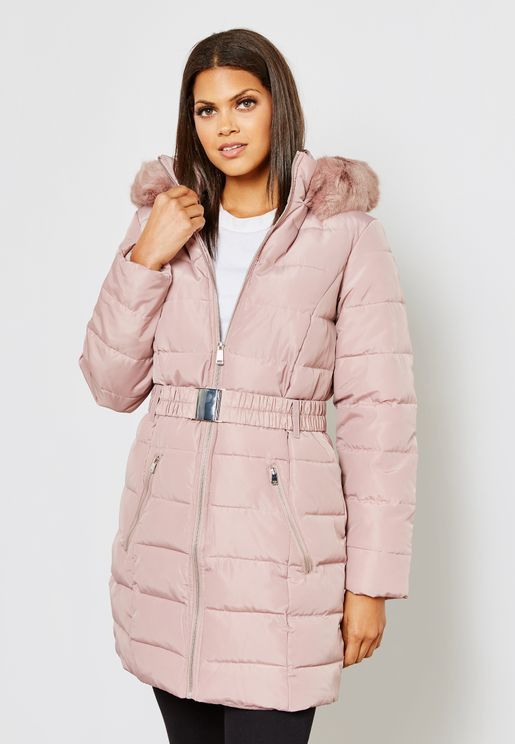 Faux Fur Collar Quilted Jacket