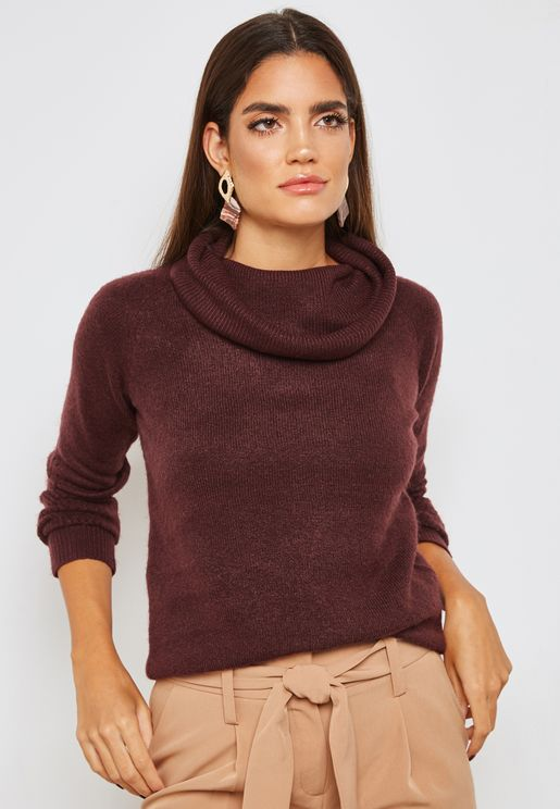 Stitch Sleeve Cowl Neck Sweater