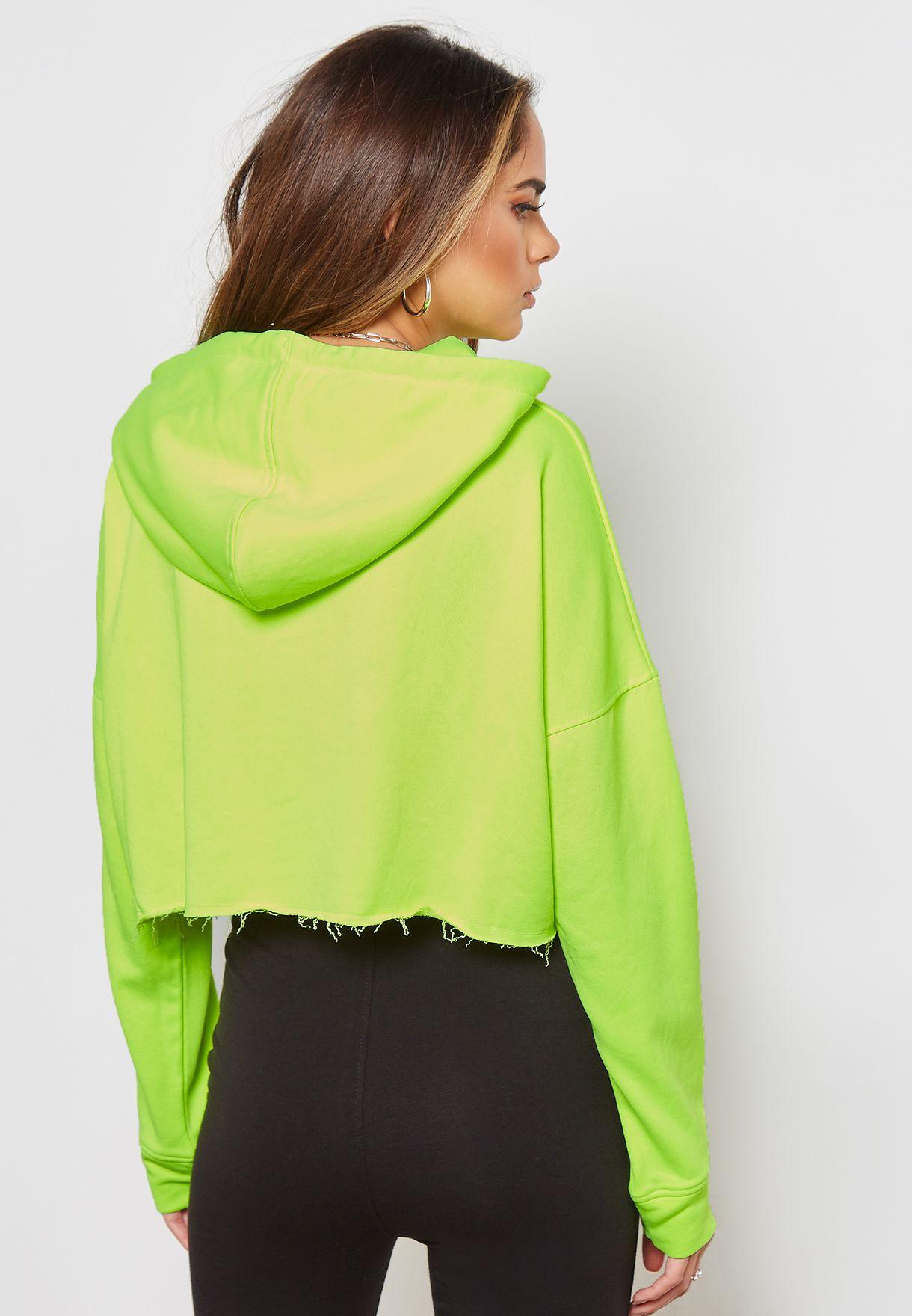 Crop Long Sleeve Hooded Sweatshirt