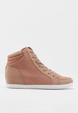 Ladies Quilted Sneaker Wedge Lace Up..