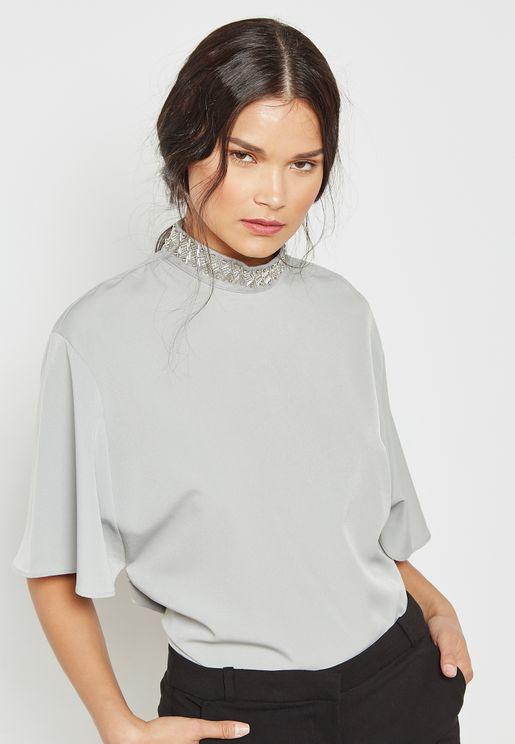 Neck Embellished Top