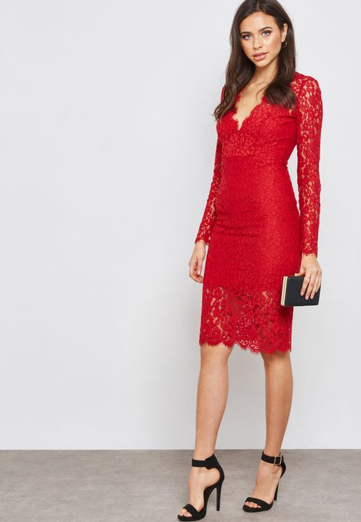 Scallop Lace Detail Midi Dress