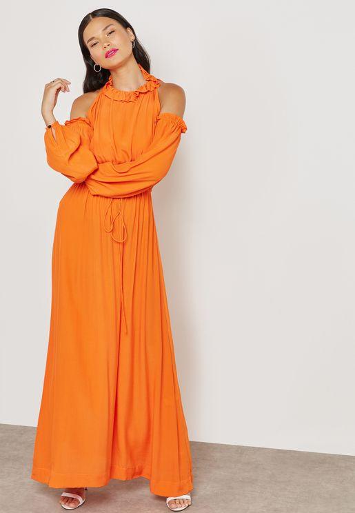 Cold Shoulder Halter Neck Maxi Dress