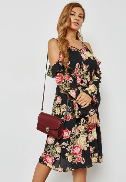 Floral Print Cold Shoulder Dress