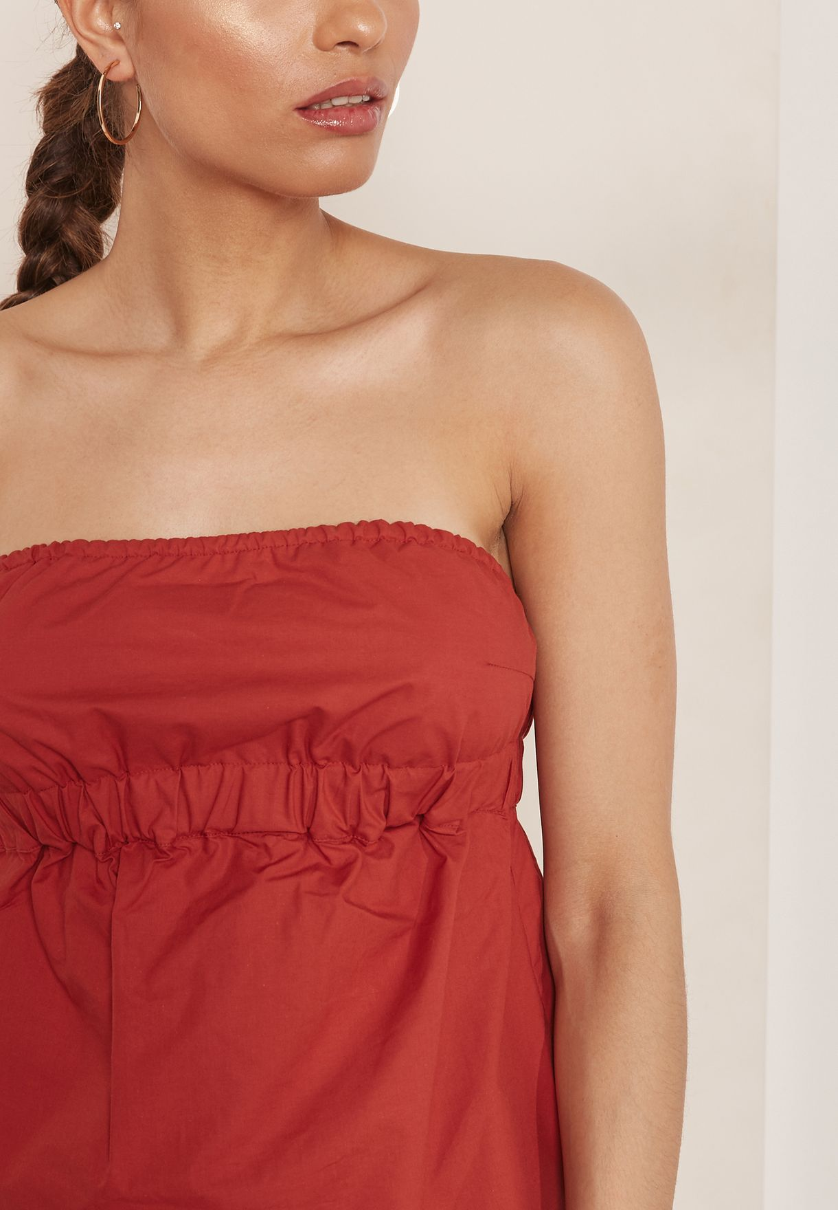 Ruched Detail Bandeau Top
