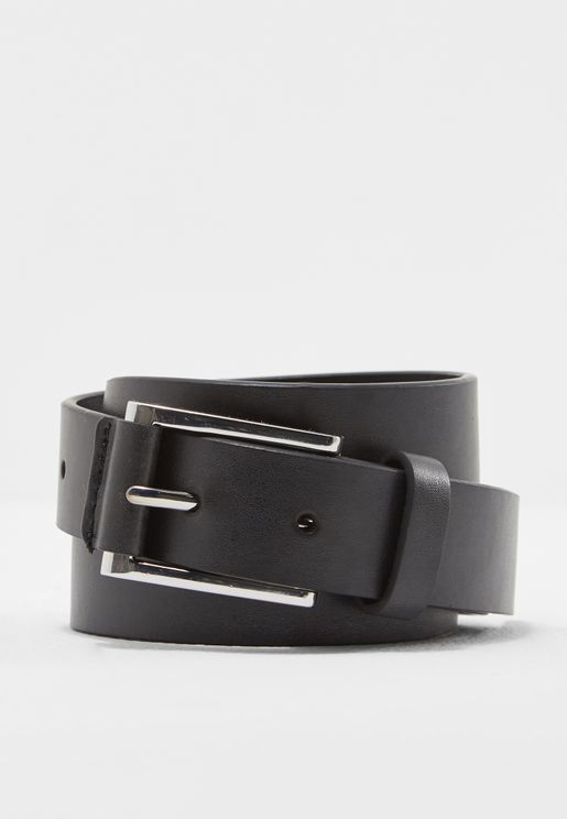 Tab Detail Black Jeans Belt