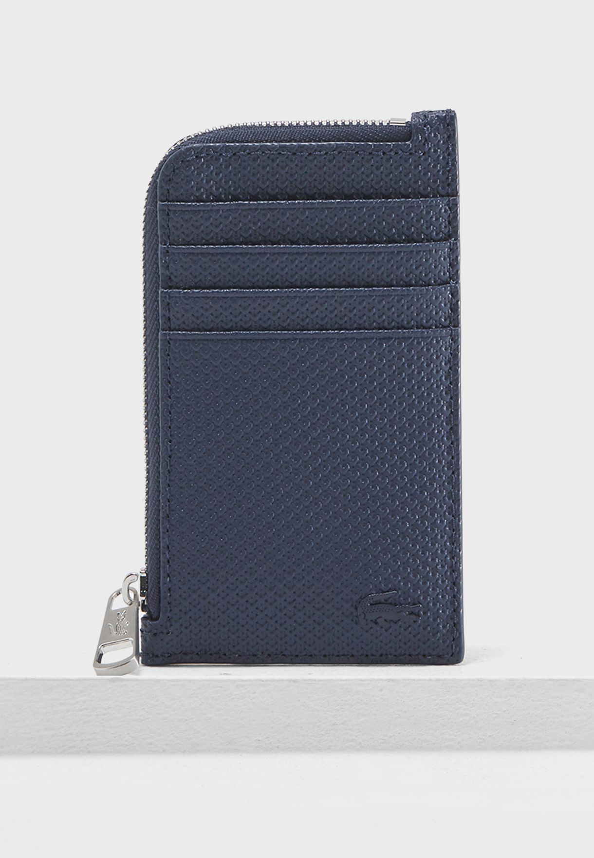 57e5b0c86 Shop Lacoste navy Leather Zip Around Wallet NH2293CE-021 for Men in ...