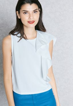 Ruffle Sleeve Tie Back T-Shirt