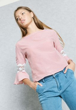 Striped Lace Insert Sleeve Top