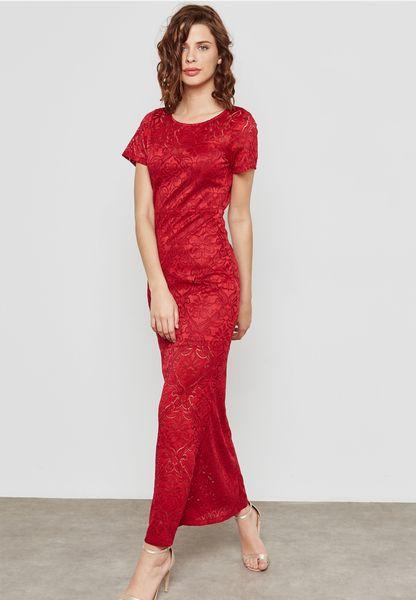 Open Bak Lace Maxi Dress