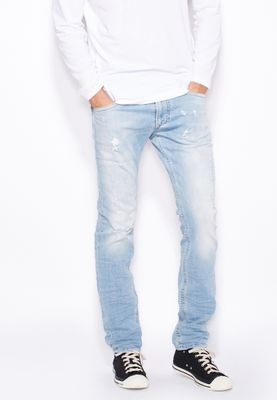 Diesel Thavar Tapered Slim Fit Light Wash Jeans