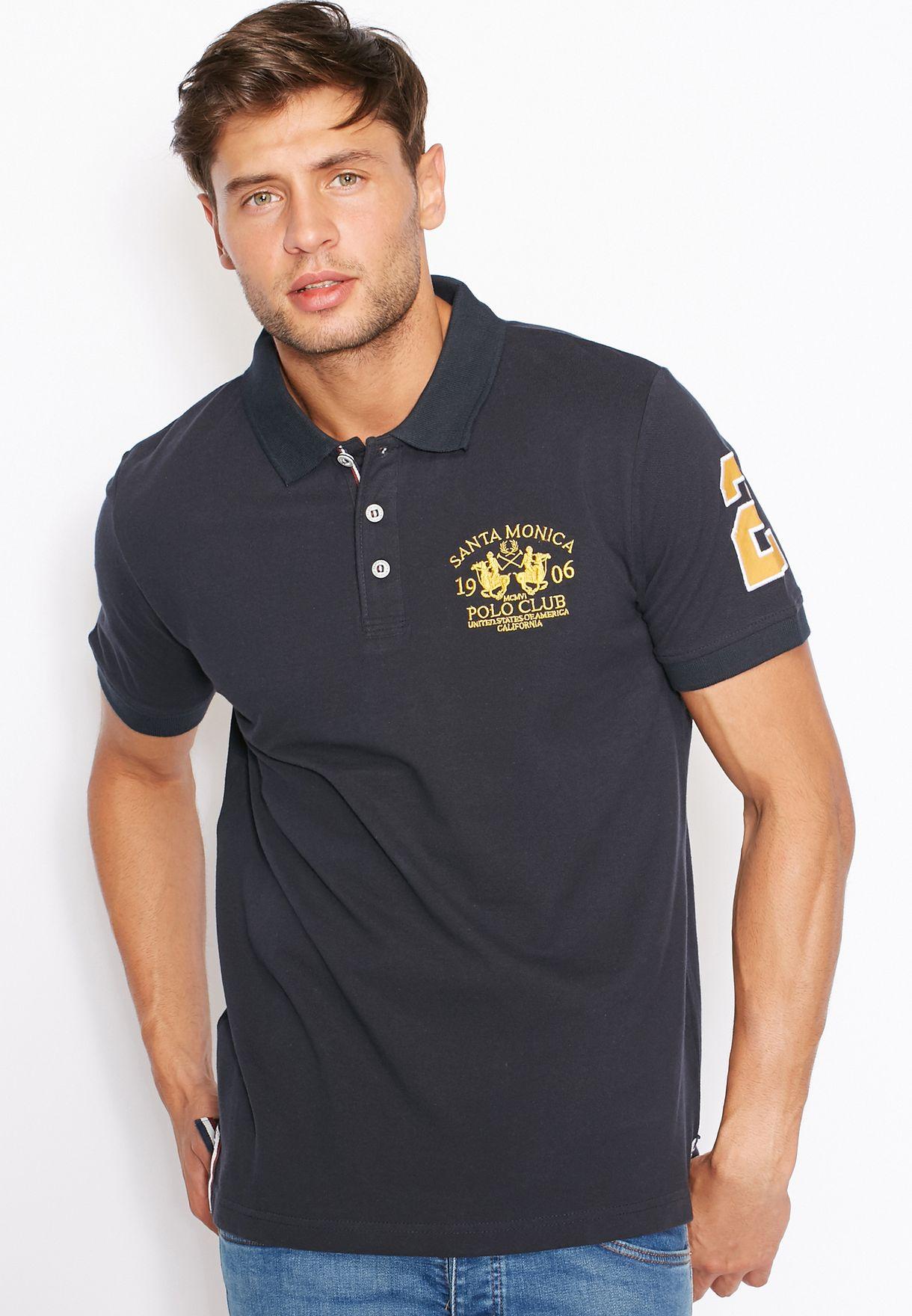 241a1c11 Shop Santa monica polo club navy Varsity Logo Polo for Men in ...
