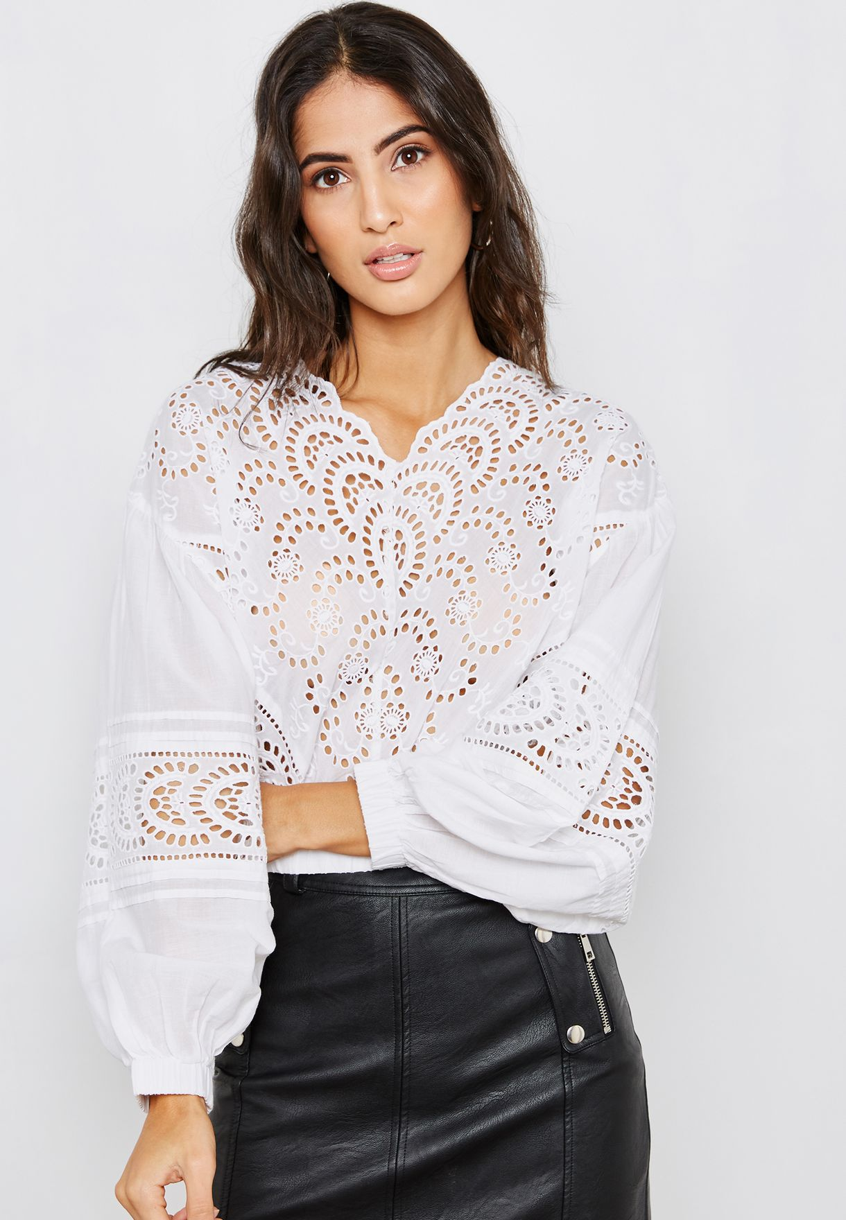 83543934fbba4e Shop Topshop white Broderie Long Sleeve Top 13P01PIVR for Women in ...