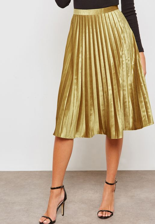 Satin Pleated Midi A-Line Skirt