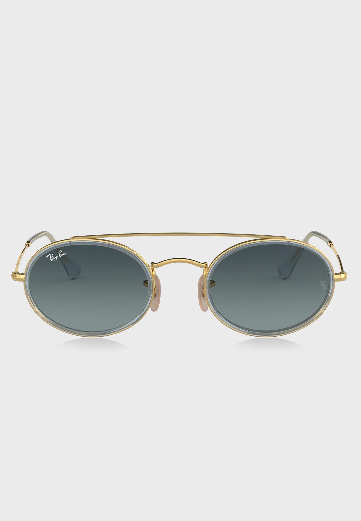 2c2fcba1dc1 Shop Ray-Ban gold 0RB3847N Double Bridge Sunglasses 8.05367E+12 for ...