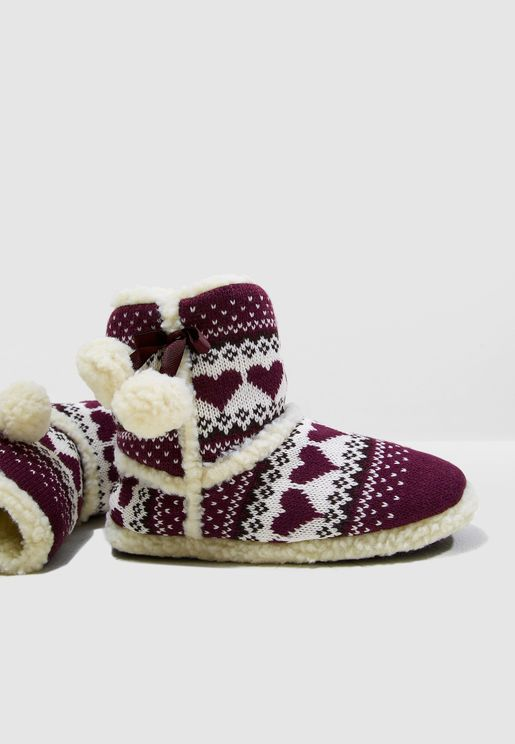 Fairisle Slipper Bootie
