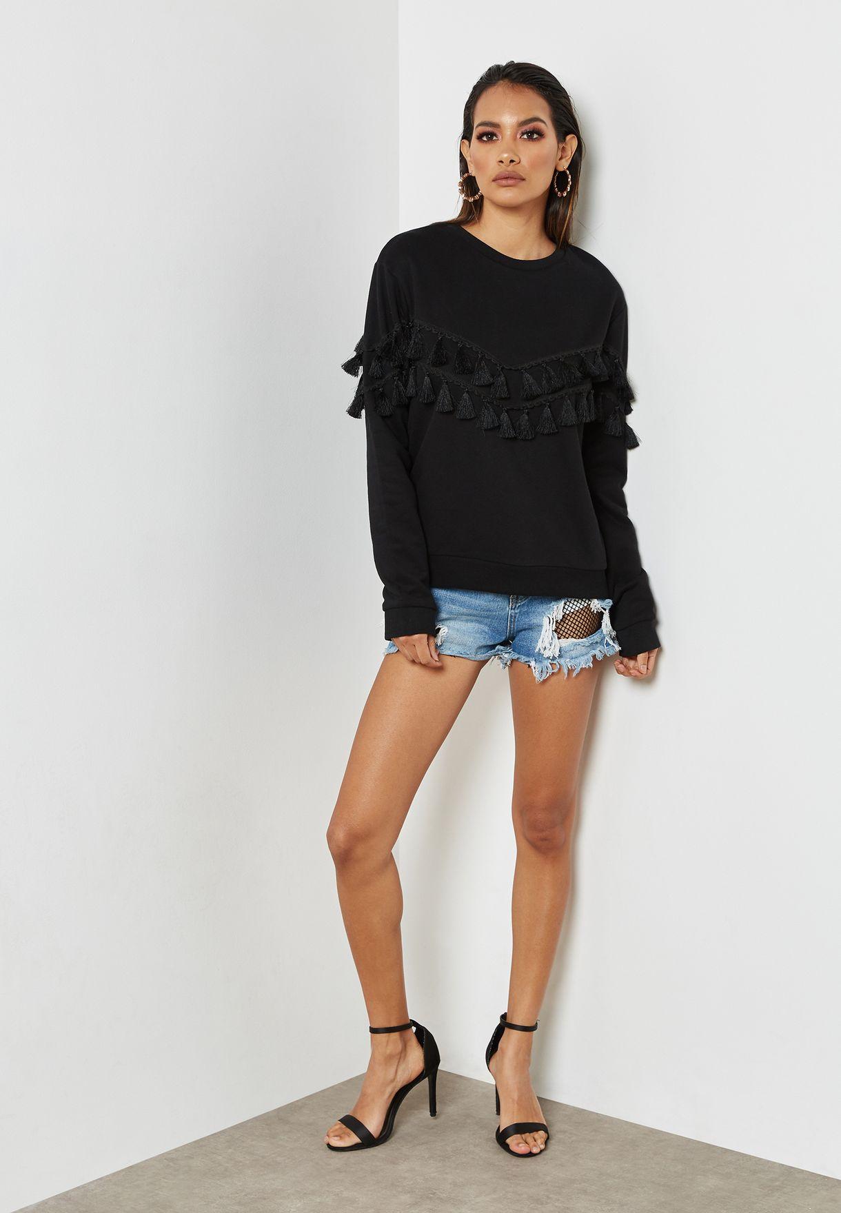 Tassel Trim Oversized Sweatshirt
