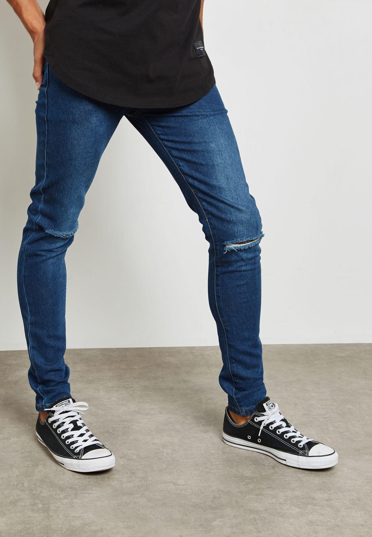 654904e40c Shop Criminal Damage blue Skinny Fit Jeans SKINNY JEANS for Men in ...