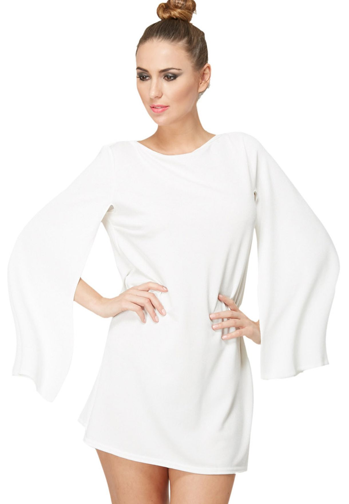 baa80fbe4d3b Shop Rare white Cut Out Cape Sleeve Dress for Women in Qatar - RA836AT24LFF