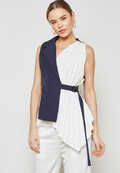 Wrap Front Detail Buckle Top