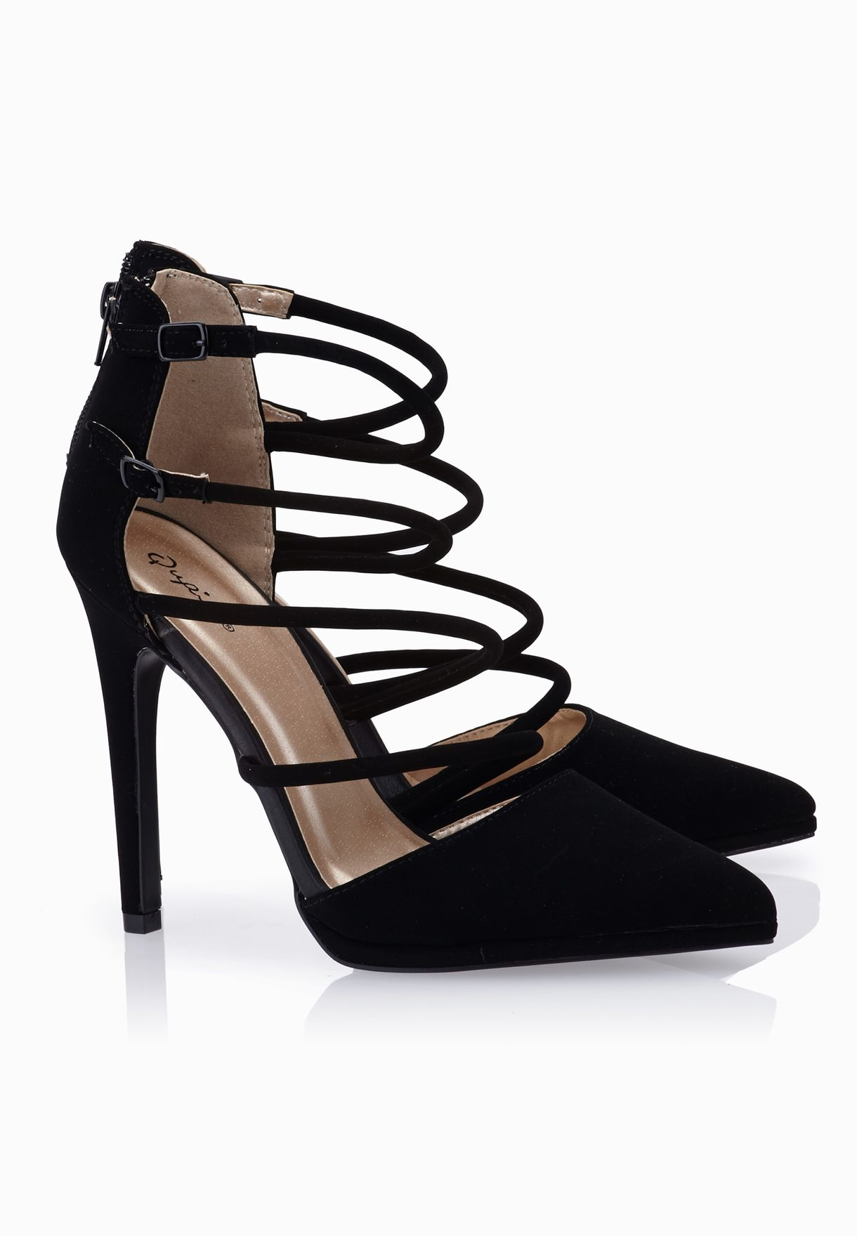 d2733048f1 Shop Qupid black Cut Out Buckled Pointy Toe Pumps for Women in Saudi ...