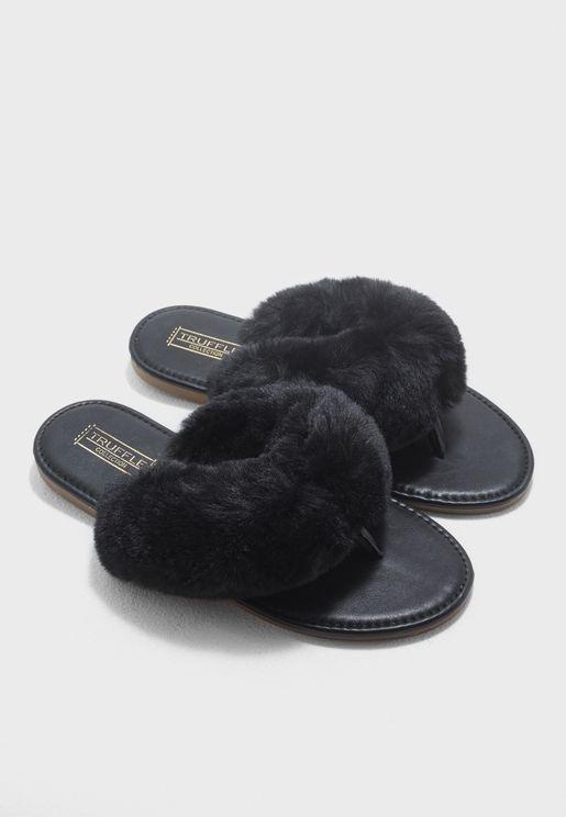 Fur Slip-On T-Bar Flats