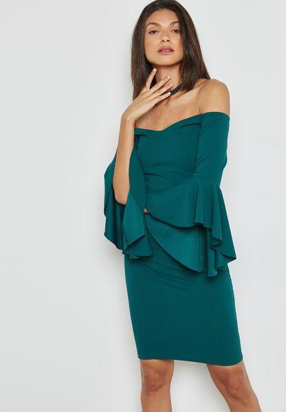 Flute Sleeve Bardot Bodycon Dress