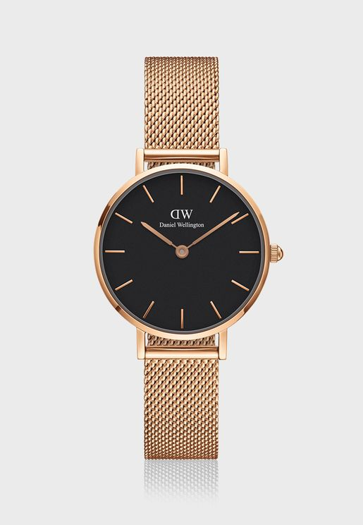 Petite Melrose RG Black 28mm Watch DW00100217