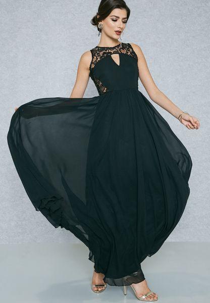 Lace Insert Detail Slit Dress