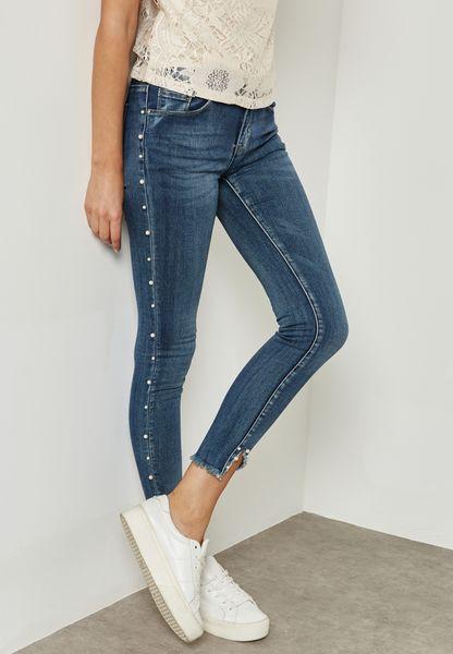 Pearl Trim Skinny Jeans