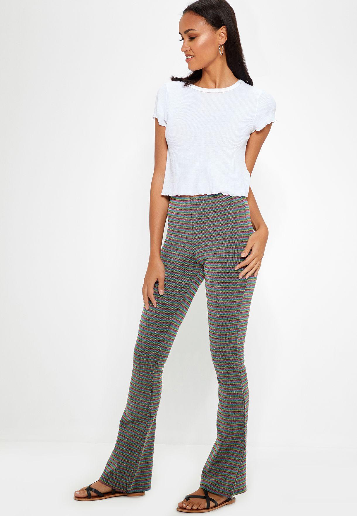 7fa8498cde1e Shop Topshop multicolor Striped Flared Pants 16F02PMUL for Women in ...