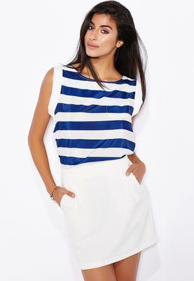 Ginger Contrast Skirt Striped Dress