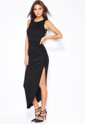 Ginger Ruched Side Slit Dress