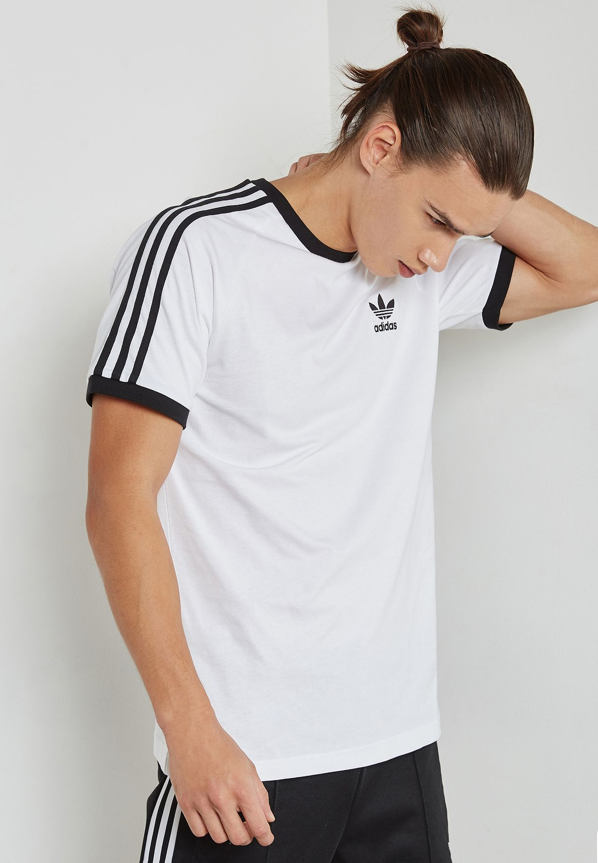 9c440447 Shop adidas Originals white adicolor 3 Stripe T-Shirt CW1203 for Men ...