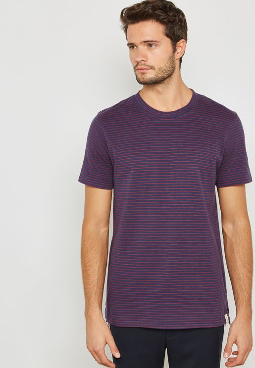 Simple Striped Crew Neck T-Shirt