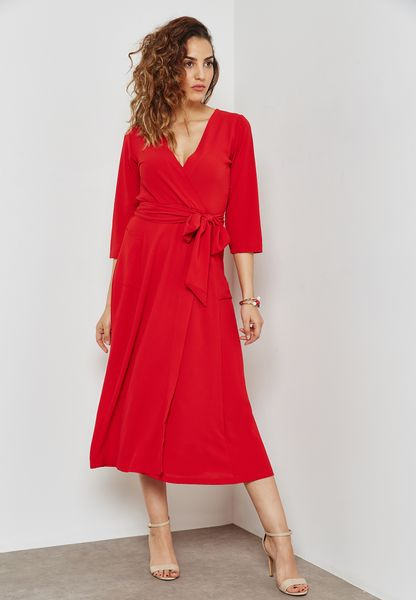 Wrap Front Self Tie Dress