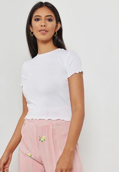 Frill Sleeve Detail T-Shirt