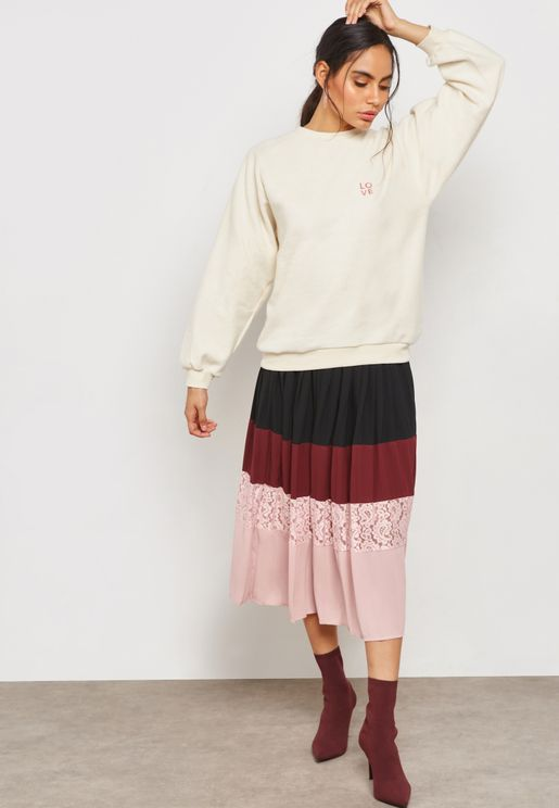 Lace Insert Colorblock Skirt