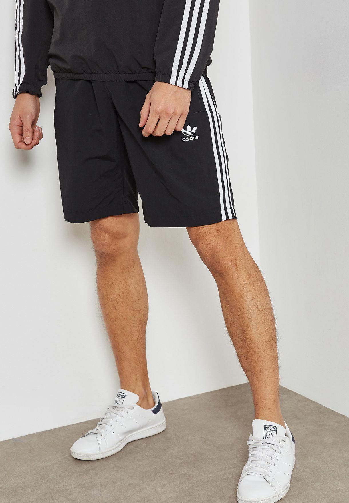 505006e6536f8 Shop adidas Originals black adicolor 3 Stripe Swim Shorts CW1305 for ...