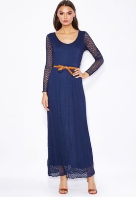 Jana Imaan Laser Cut Out Belted Maxi Dress