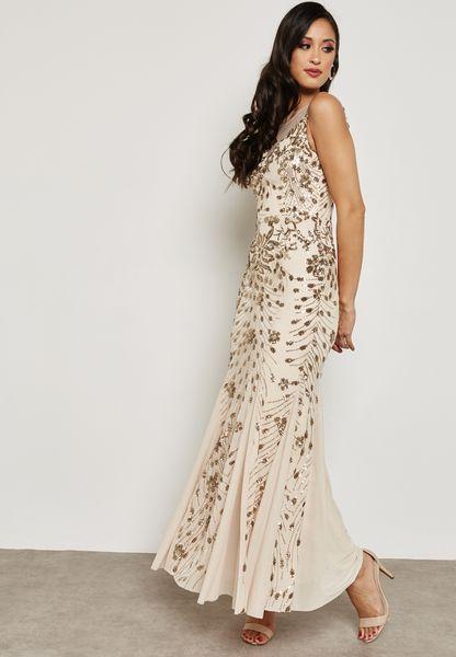Mesh Insert Fishtail Dress