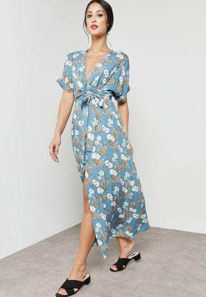 Floral Print Wrap Front Self Tie Maxi Dress