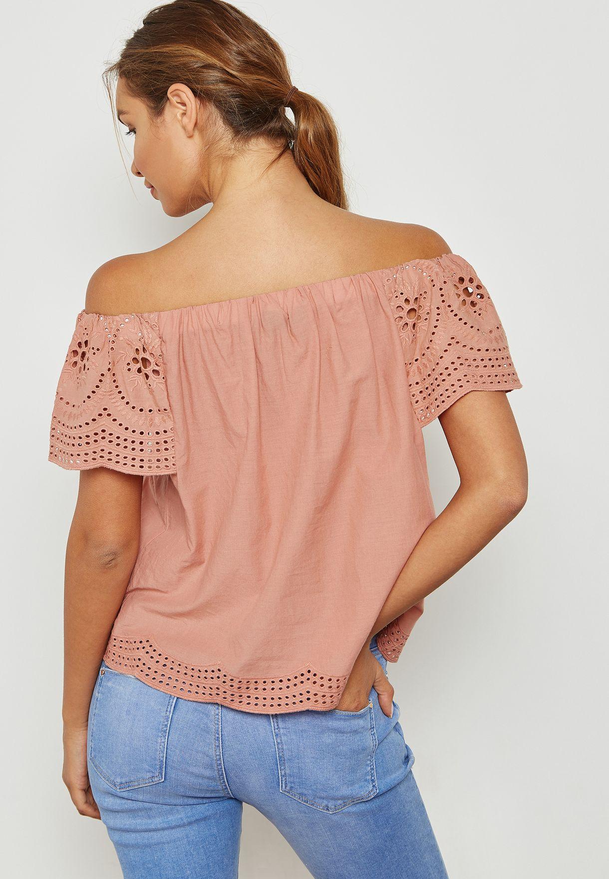 6484ed6d907 Shop Dorothy Perkins pink Frill Detail Broidery Bardot Top 67298514 ...