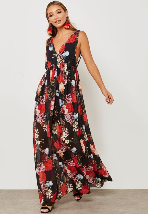 Floral Print Plunge Neck Maxi Dress
