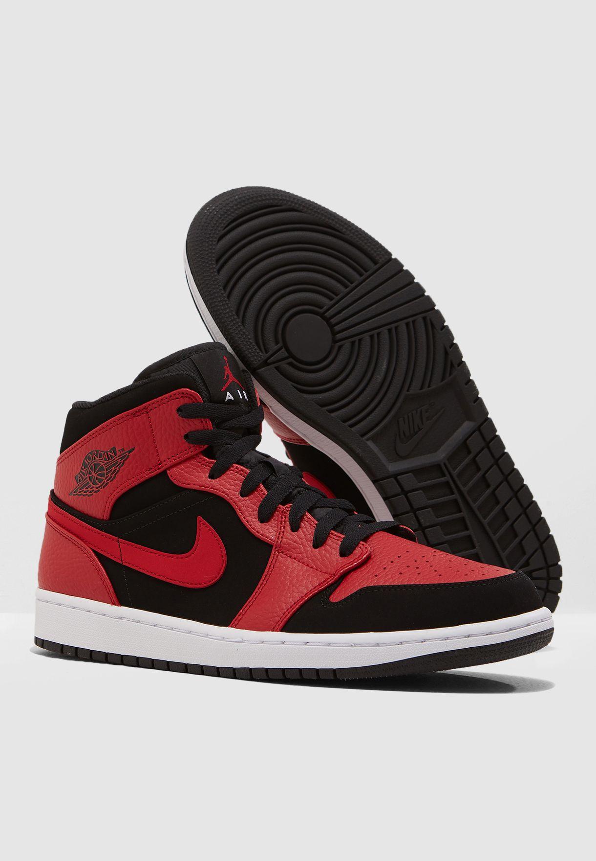 d000483157f Shop Nike red Air Jordan 1 Mid 554724-054 for Men in UAE - NI727SH14SWV