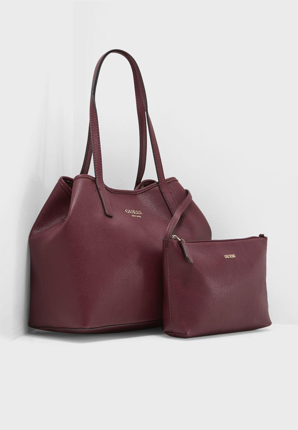131e708d105 ... best service ede89 eb882 Shop Guess burgundy Vikky Tote VG699523BUR for  Women in Saud ...