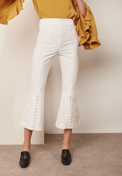 Buttoned Crop Flared Pants