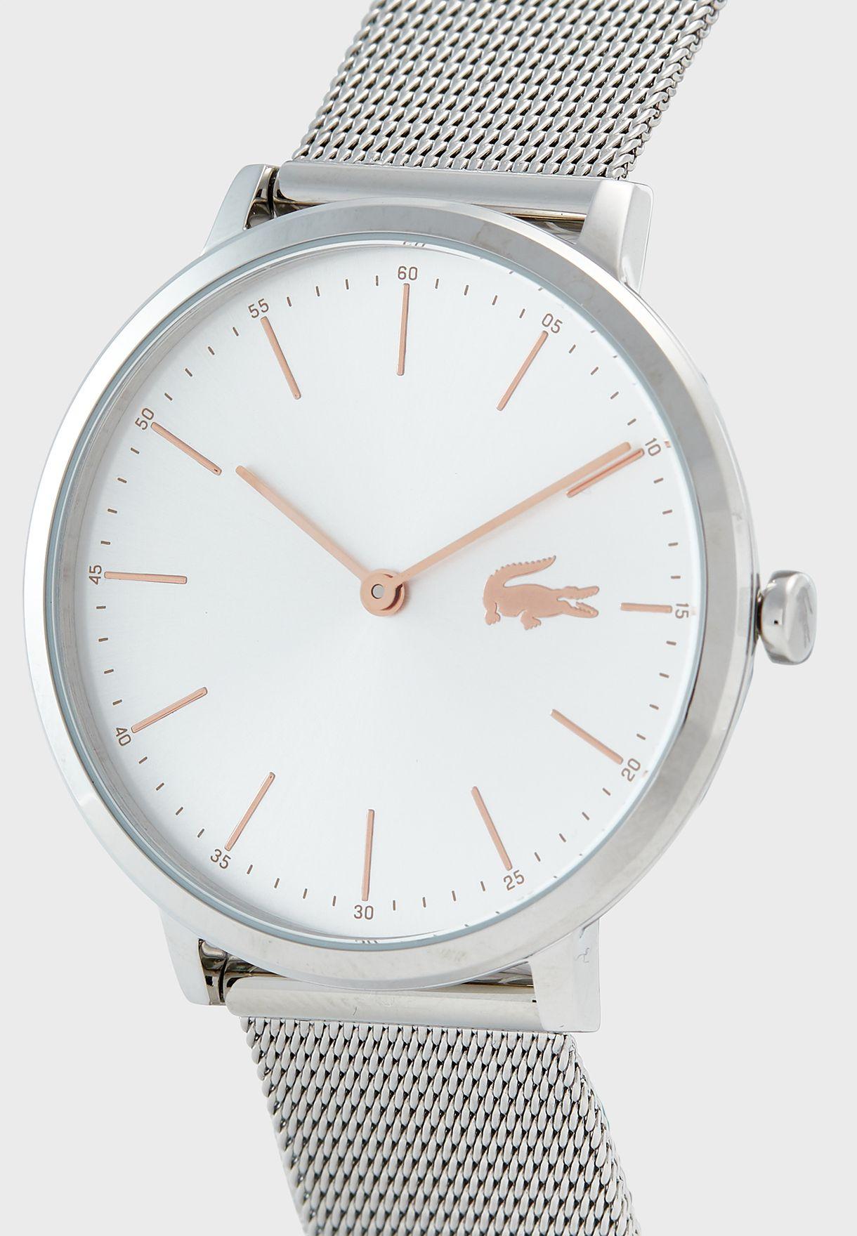 ساعة بحزام من المعدن الشبكي