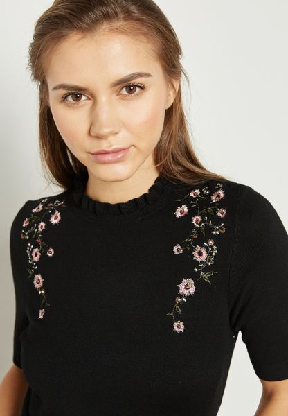 High Neck Embroidered Sweater