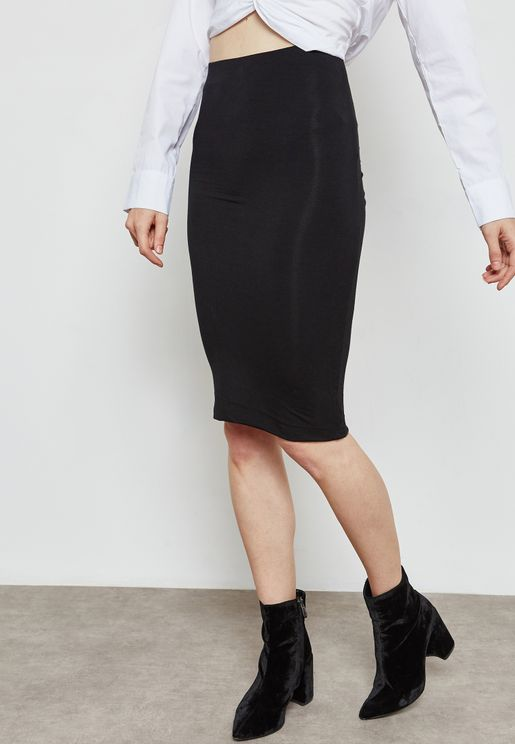 Ruched Back Pencil Skirt